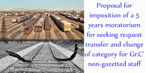 Proposal for imposition of a 5 years moratorium for seeking transfer - Railway Board