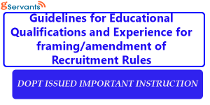 Educational Qualifications and experience for Recruitment of Various Post