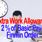 Extra Work Allowance 2 Percent of Basic Pay – Finmin Order