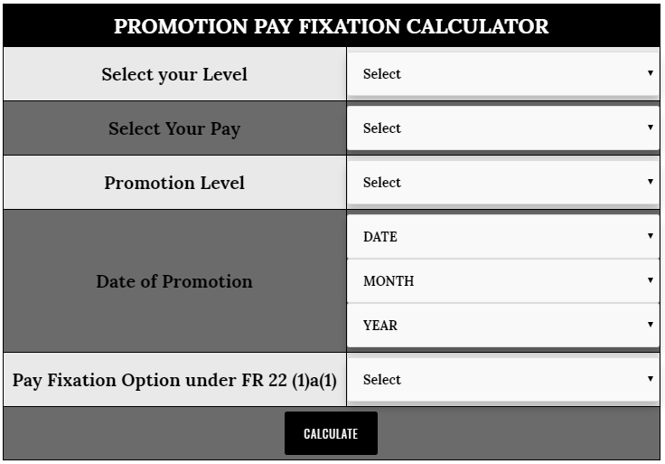 Calculator for Fixation of Pay on Promotion under FR 22(1)a