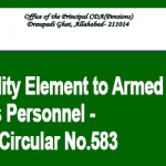 Disability Element to Armed Forces Personnel - PCDA Circular No.583