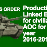 Productivity Linked Bonus for civilians of AOC for the year 2016-2017