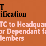 LTC to Headquarters for Dependant family Members – DoPT Clarification