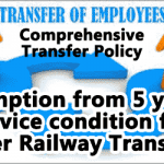 Exemption from 5 years service condition for inter Railway Transfer