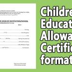 Children Education Allowance Certificate Format