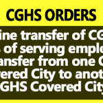 Online transfer of CGHS Cards from one City to another CGHS Covered City