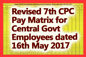 Revised 7th CPC Pay Matrix for Central Government Employees