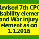 Revised 7th CPC Disability element and War injury element as on 1.1.2016