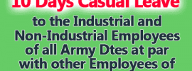 Grant of 10 Days Casual Leave for Employees of all Army Dtes