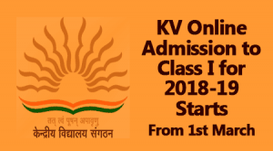 KV Online Admission to Class I for 2018-19