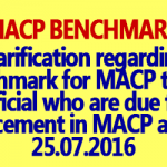 MACP Benchmark and Promotion Criteria - Clarification