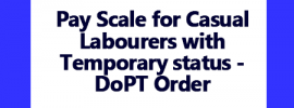 Pay Scale for Casual Labourers with Temporary status – DoPT Order