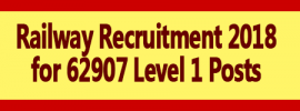 Railway Recruitment 2018 for 62907 Level 1 Posts