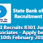 SBI Recruits 8301 Junior Associates - Apply before 10th February 2018