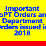 DOPT Orders and Department Specific Orders issued in February 2018