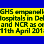 CGHS Empanelled Hospitals in Delhi as on 11th April 2018