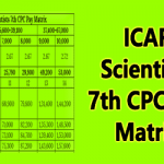 ICAR Scientists 7th CPC Pay Matrix