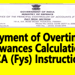 Payment of Overtime Allowances Calculation – PCA (Fys) Instruction