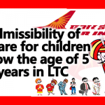 Airfare for children below the age of 5 years in LTC