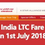 Air India LTC Fare as on 1st July 2018