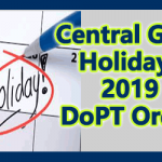 Central Govt Holidays 2019 DoPT Order