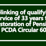 Delinking of qualifying service of 33 years for Restoration of Pension - PCDA Circular 602