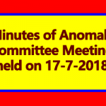 Minutes of Anomaly Committee Meeting held on 17-7-2018