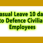 Casual Leave 10 days to Defence Civilian Employees