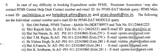 PFMS Central Help Desk Contact number and email ID