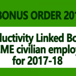 Productivity Linked Bonus for EME civilian employees for 2017-18