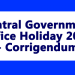 Central Government Office Holiday 2019 - Corrigendum