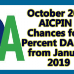 October 2018 AICPIN - Chances for 4 Percent DA hike from January 2019