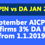 September AICPIN Confirms 3% DA hike from 1.1.2019