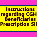 Instructions regarding CGHS Beneficiaries Prescription Slip