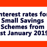 Interest rates for Small Savings Schemes from 1st January 2019