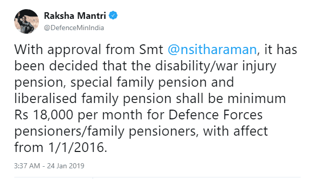 Minimum Disability Pension and war Injury Pension Rs.18000