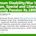 Minimum Disability/War Injury Pension, Special and Liberalised Family Pension Rs.18000
