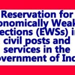 Reservation 10 % for EWS (Economically Weaker Sections)-DoPT Order
