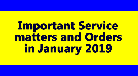 Important Service matters in January 2019