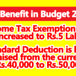 Income Tax Exemption limit increased to Rs.5 Lakh in Budget 2019