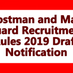 Postman and Mail Guard Recruitment Rules 2019 Draft Notification