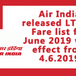 Air India LTC 80 fare from June 2019