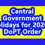 Central Government Holidays for 2020 - DoPT Order