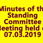 Minutes of the Standing Committee Meeting held on 07.03.2019