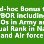 Ad-hoc Bonus to PBOR including JCOs in Army and Equal Rank in Navy and Air force
