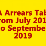 DA Arrears Table from July 2019 to September 2019
