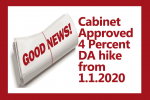 Cabinet Approved 4 Percent DA hike from 1.1.2020