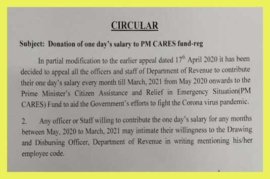 Every month One Day salary to PM CARES Fund from May 2020 to March 2021