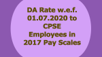 DA Rate w.e.f. 01.07.2020 to CPSE Employees in 2017 Pay Scales