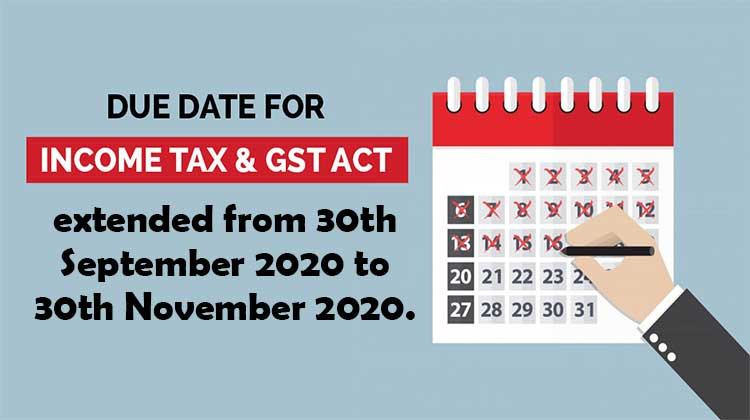 Income Tax Return Due Date for 2019-20 extended to 30th November 2020